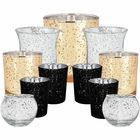 Elegant Midnight Metallic Glass Votive Candle Holders (11pcs, Midnight 2) - Premier