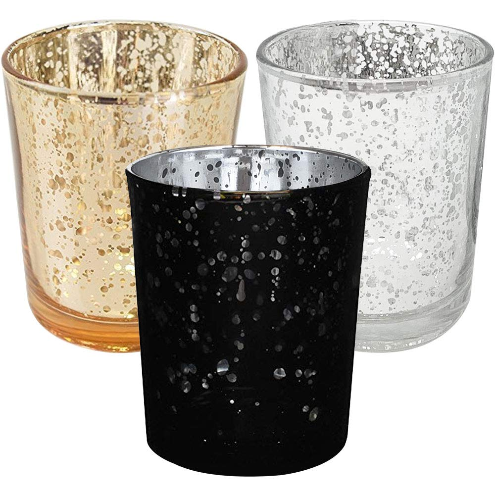 Elegant Midnight Metallic Glass Votive Candle Holders (15pcs, Midnight) - Premier
