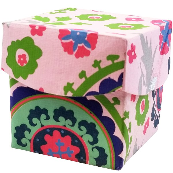 CLEARANCE Extra Small Paper Gift Box Pink Suzani