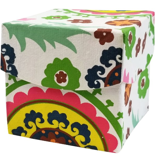 CLEARANCE Extra Small Paper Gift Box White Suzani