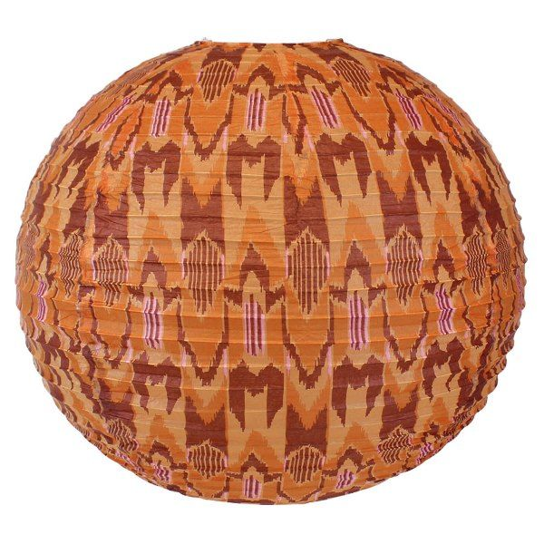 FINAL CLEARANCE 18in Orange Ikat Paper lantern