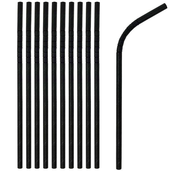 Flexible Bendable Paper Straws 25pcs Solid Black