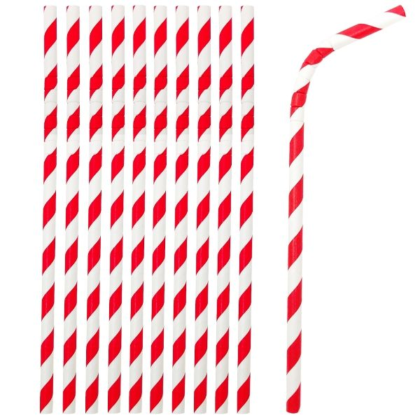 Flexible Bendable Paper Straws 25pcs Striped Cherry Red