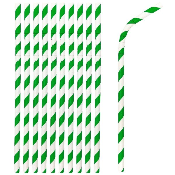 Flexible Bendable Paper Straws 25pcs Striped Kelly Green
