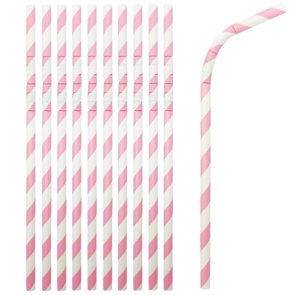 Flexible Bendable Paper Straws 25pcs Striped Tickled Pink