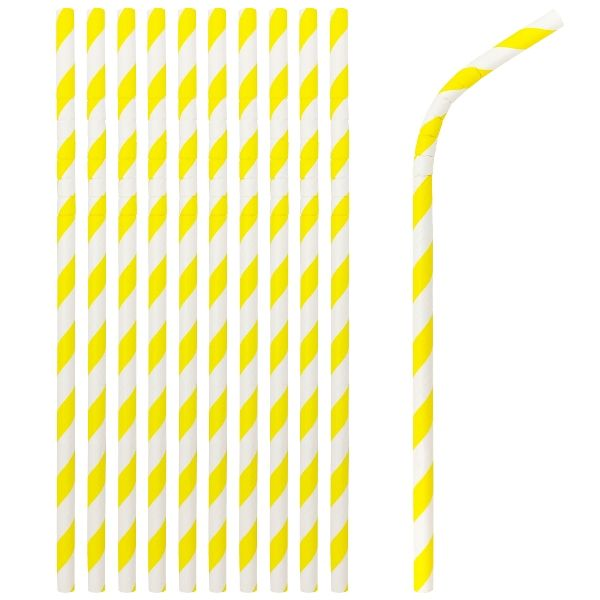 Flexible Bendable Paper Straws 25pcs Striped Yellow
