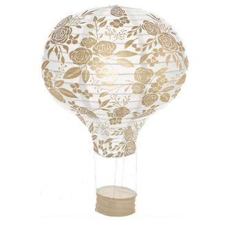 Floral Gold  Hot Air Balloon Paper Lantern 12in