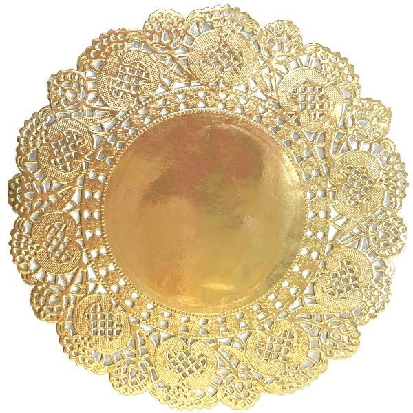 "Floral Lace Paper Doilies 20pcs 6.5"" Metallic Gold"