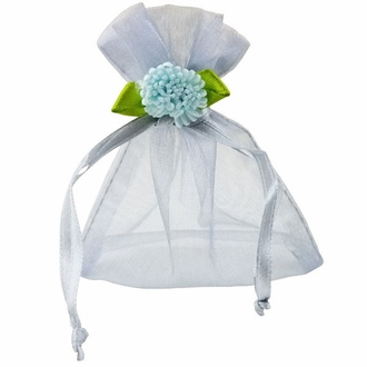 Flower Organza Favor Bag 10pcs Silver