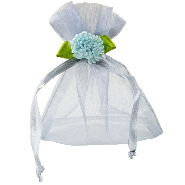 CLEARANCE Flower Organza Favor Bag 10pcs Silver