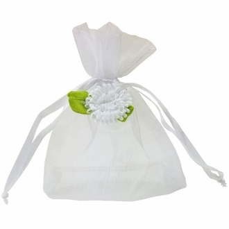 CLEARANCE Flower Organza Favor Bag 10pcs White