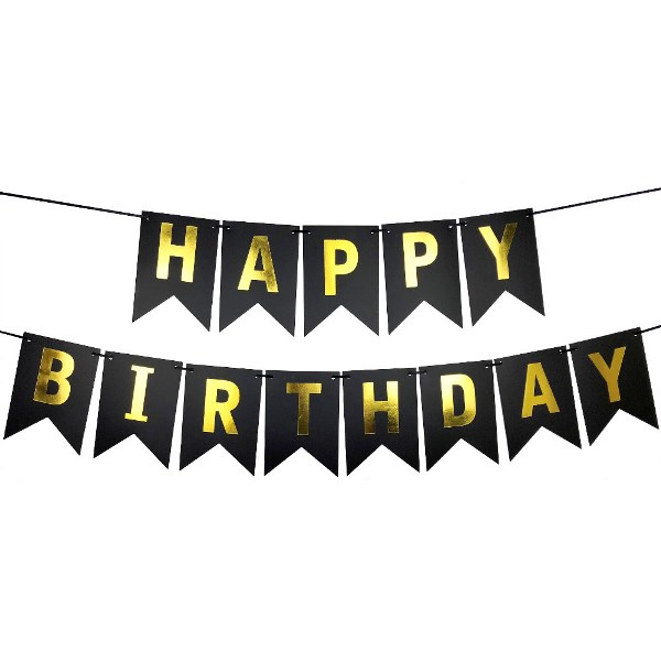 Foil Happy Birthday Pennant Banner Black & Gold