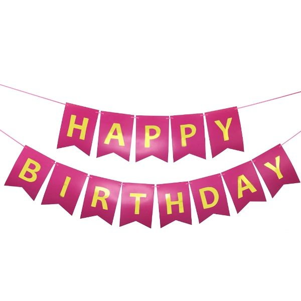 Foil Happy Birthday Pennant Banner Fuchsia & Gold