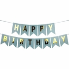 Foil Happy Birthday Pennant Banner Light Blue & Gold