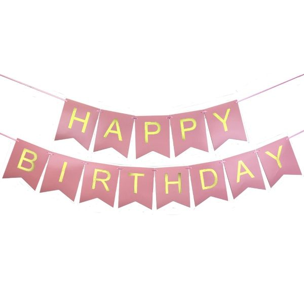 Foil Happy Birthday Pennant Banner Light Pink & Gold
