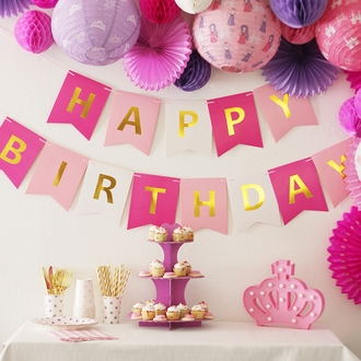 Foil Happy Birthday Pennant Banner Princess Pinks & Gold