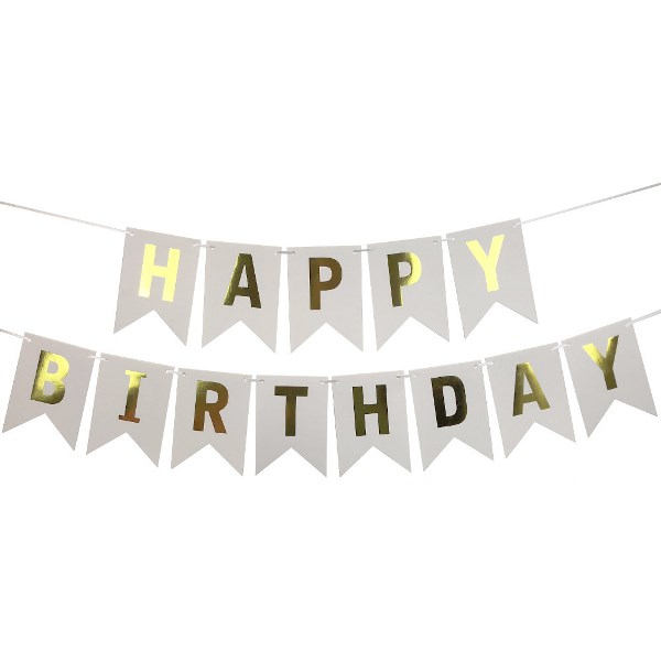 Foil Happy Birthday Pennant Banner White & Gold