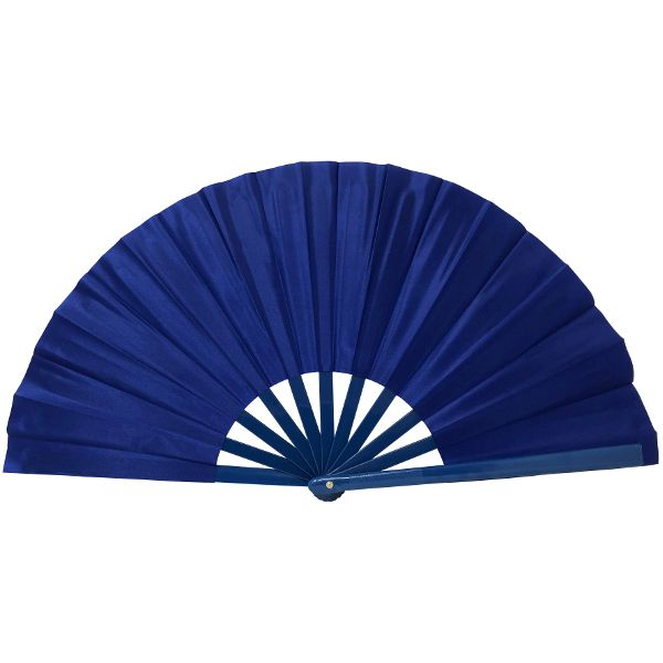 "Folding Silk Hand Fan 13"" Royal Blue"