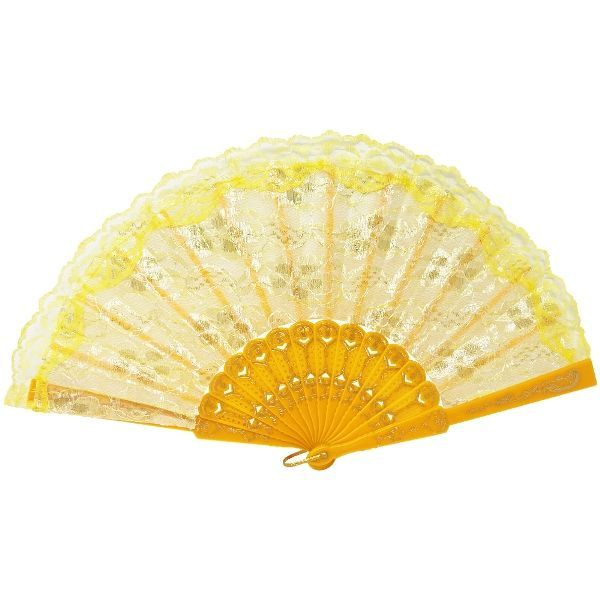 Folding Silk Hand Fan Marigold with Ivory and Gold