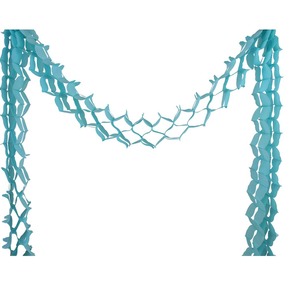 Four-Leaf Expandable Tissue Paper Garland Party Streamers (6 Pack, Baby Blue) - Premier
