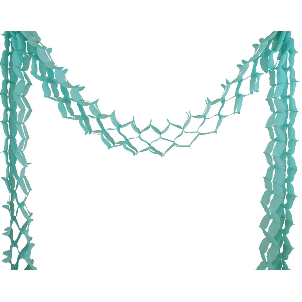 Four-Leaf Expandable Tissue Paper Garland Party Streamers (6 Pack, Caribbean Blue) - Premier
