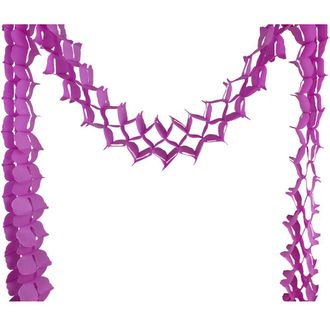 Four-Leaf Expandable Tissue Paper Garland Party Streamers (6 Pack, Fuchsia) - Premier