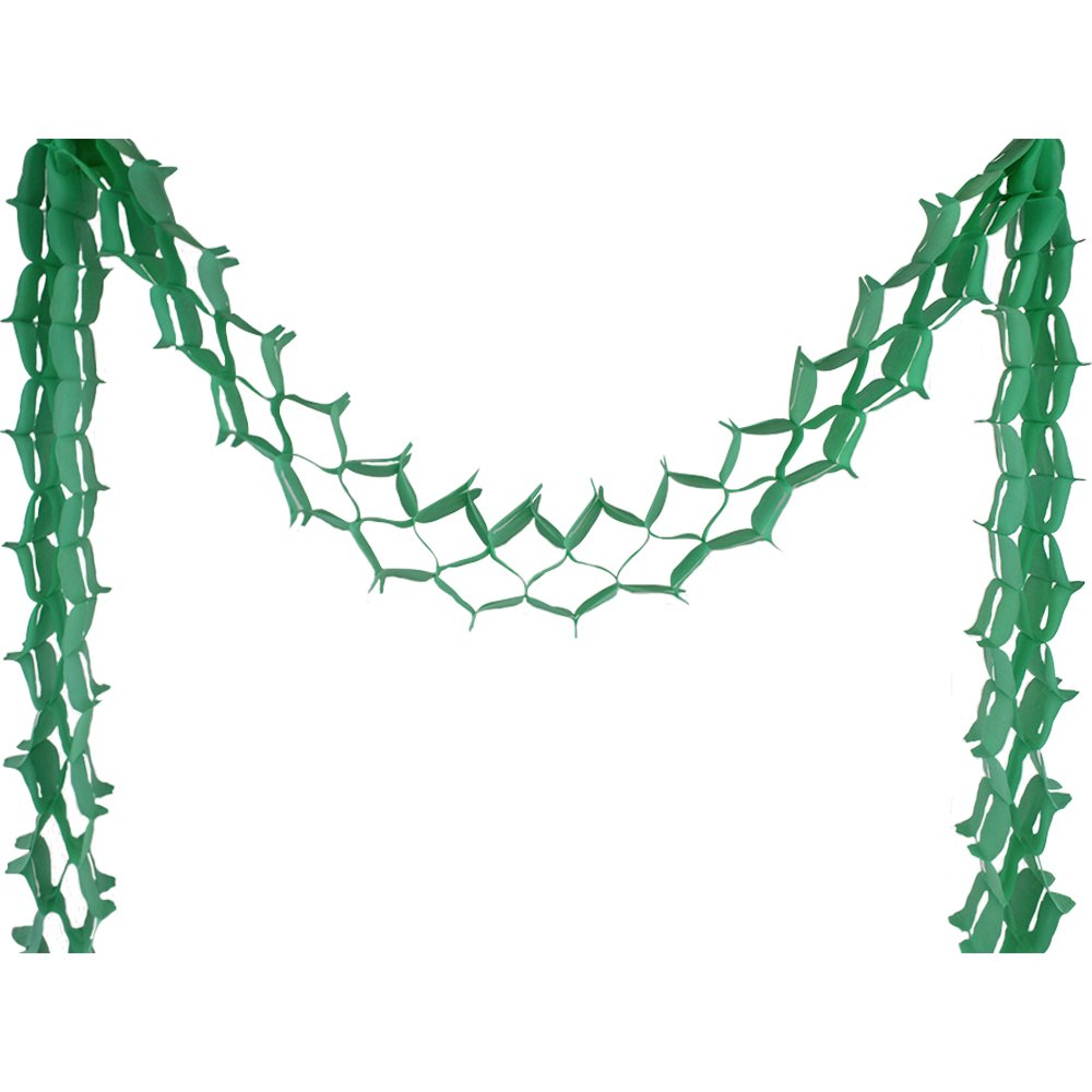 Four-Leaf Expandable Tissue Paper Garland Party Streamers (6 Pack, Green Apple) - Premier