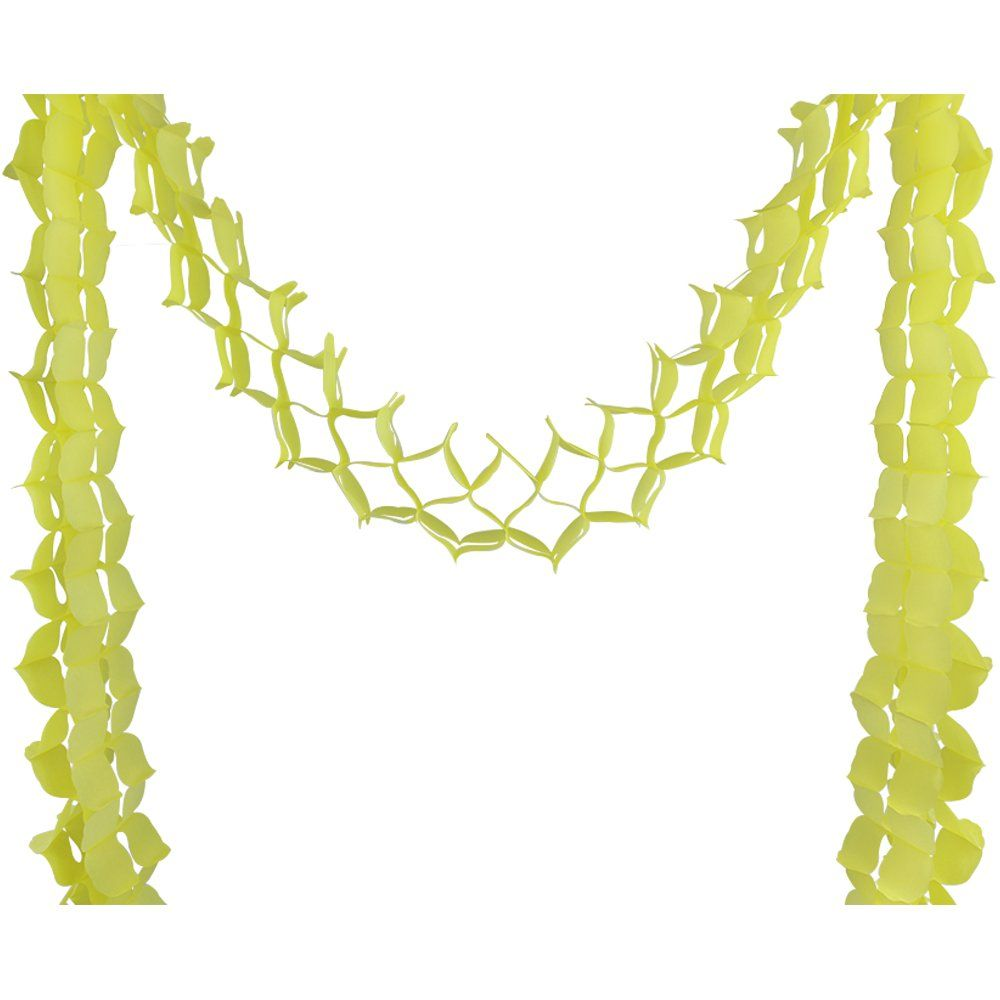 Four-Leaf Expandable Tissue Paper Garland Party Streamers (6 Pack, Lemon Yellow) - Premier