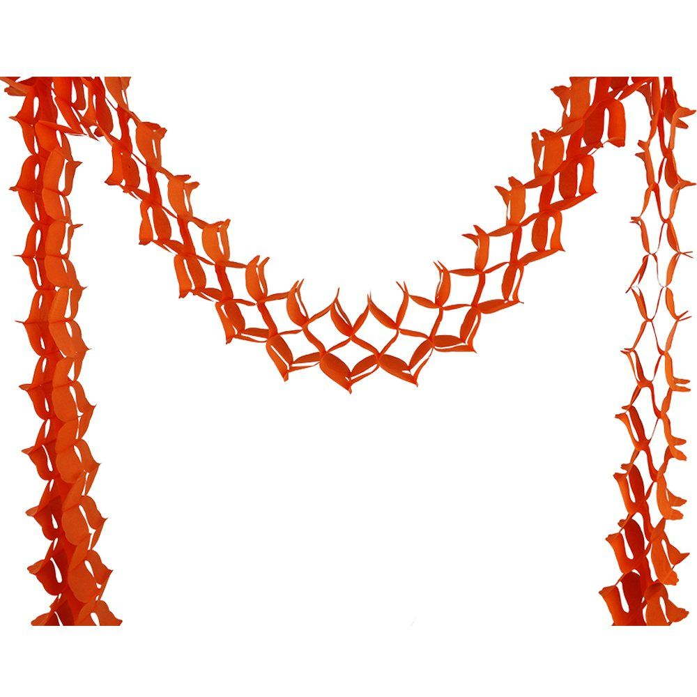 Four-Leaf Expandable Tissue Paper Garland Party Streamers (6 Pack, Orange) - Premier