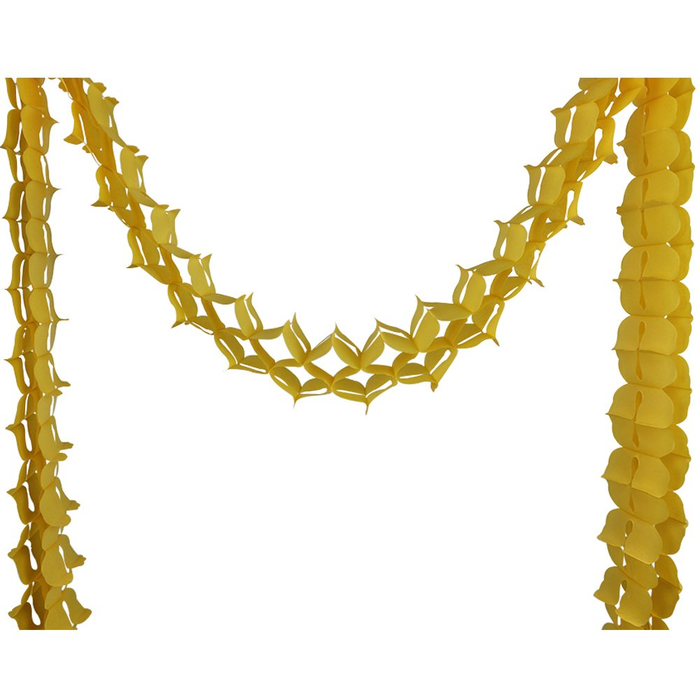 Four-Leaf Expandable Tissue Paper Garland Party Streamers (6 Pack, Pineapple Yellow) - Premier