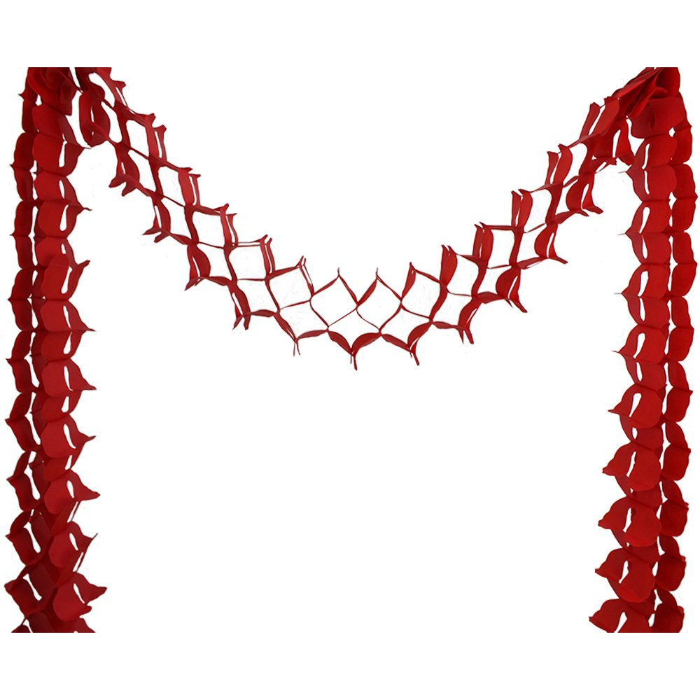Four-Leaf Expandable Tissue Paper Garland Party Streamers (6 Pack, Red) - Premier