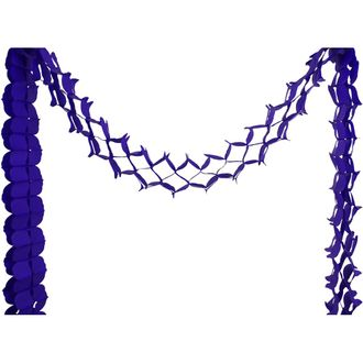 Four-Leaf Expandable Tissue Paper Garland Party Streamers (6 Pack, Royal Purple) - Premier