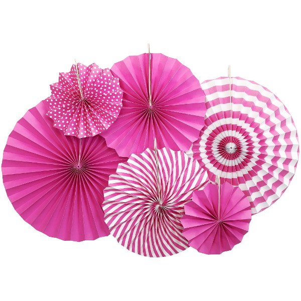 Fuchsia and White Paper Pinwheel Decorating Kit 6pcs