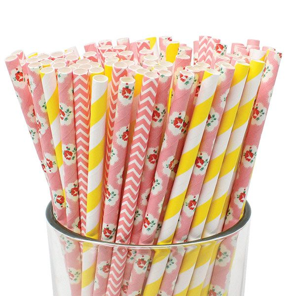 Garden Party Rose Pattern Paper Straws 100pcs