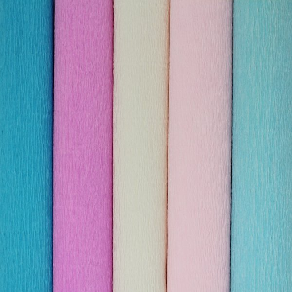 Gender Reveal Assorted Crepe Paper Roll Package 5pcs