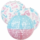 Gender Reveal Baby Shower 3pcs Kit 12inch Paper Lanterns