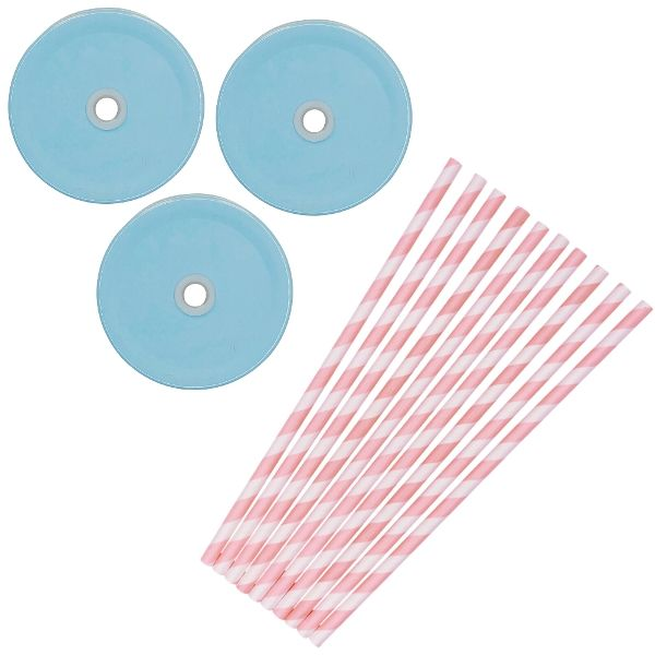 Gender Reveal Mason Jar Beverage Kit 12pcs Lids 25pcs Paper Straws -Premier