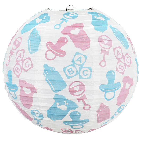 Gender Reveal Nursery Icons 12inch Paper Lantern