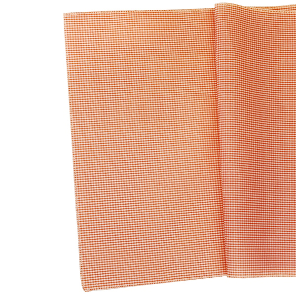 Gingham Cotton Table Runner Mango Orange