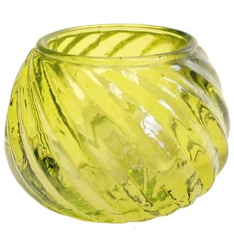 Glass Candle Holder Isabella Chartreuse 2in