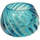 Glass Candle Holder Isabella Turquoise Blue 2in