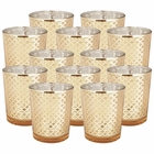 "Glass�Votive�Candle Holder 2.75""H�(12pcs,�Lattice Gold) - Premier"