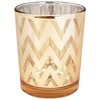 "Glass Votive Candle Holder 2.75""H Chevron Gold"