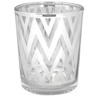 "Glass Votive Candle Holder 2.75""H Chevron Silver"