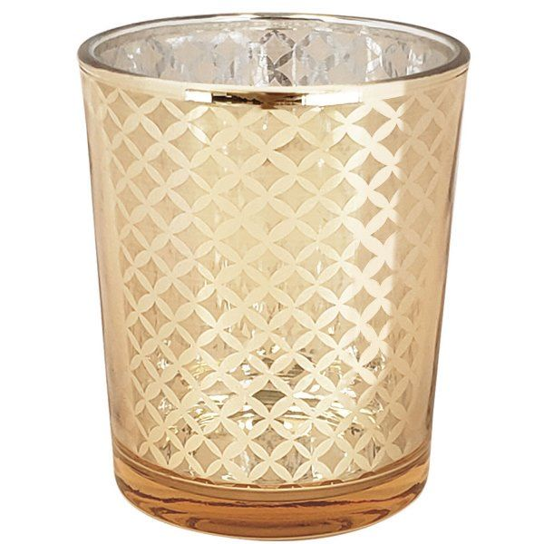 "Glass Votive Candle Holder 2.75""H Lattice Gold"