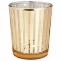 "Glass Votive Candle Holder 2.75""H Striped Gold"
