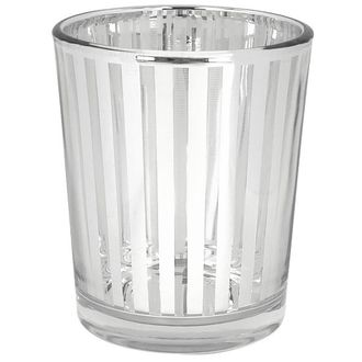 "Glass Votive Candle Holder 2.75""H Striped Silver"