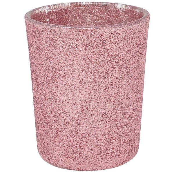"Glitter Glass Votive Candle Holder 2.75""H Blush"