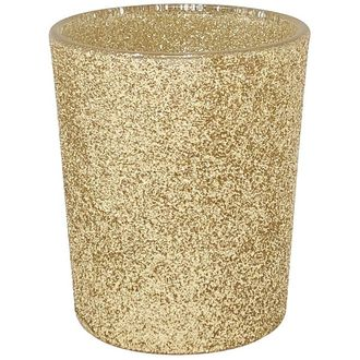 "Glitter Glass Votive Candle Holder 2.75""H Gold"