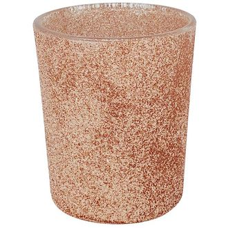 "Glitter Glass Votive Candle Holder 2.75""H Rose Gold"